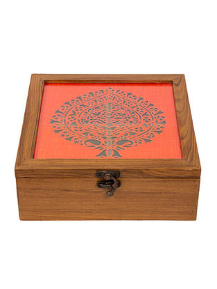 Red Teakwood Handcrafted Box (L-8.25in, W-8.25in, H-3in)