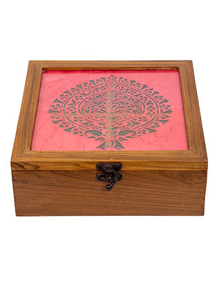 Pink Teakwood Handcrafted Box (L-8.25in, W-8.25in, H-3in)