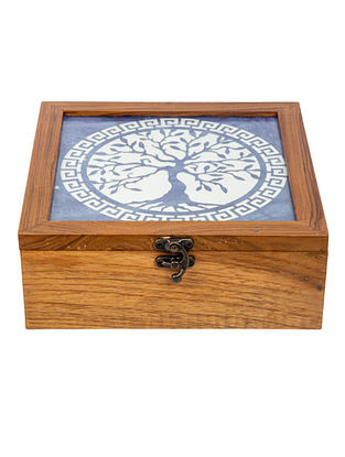 Blue Teakwood Handcrafted Box (L-8.25in, W-8.25in, H-3in)