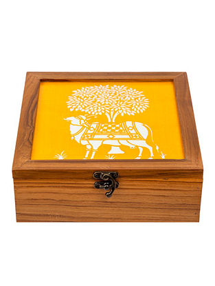 Yellow Teakwood Handcrafted Box (L-8.25in, W-8.25in, H-3in)