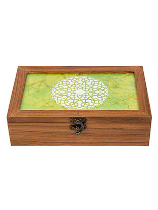 Green Teakwood Handcrafted Box (L-9.5in, W-6.25in, H-2.5in)