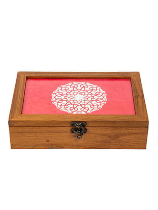 Pink Teakwood Handcrafted Box (L-9.5in, W-6.25in, H-2.5in)