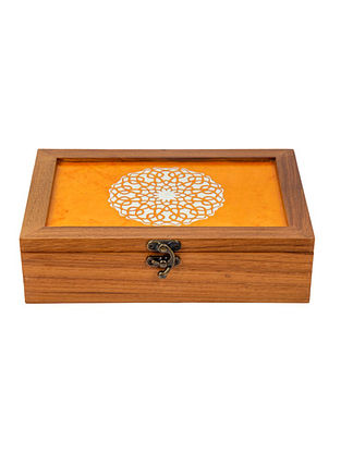 Yellow Teakwood Handcrafted Box (L-9.5in, W-6.25in, H-2.5in)