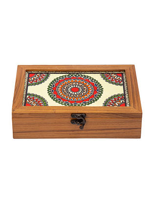 Multicolored Teakwood Handcrafted Box (L-9.5in, W-6.25in, H-2.5in)
