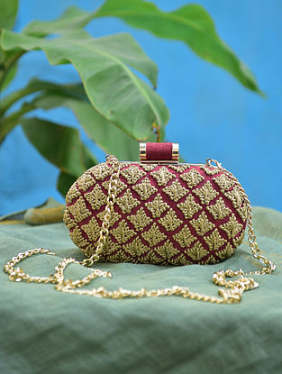 Maroon Gold Hand Embroidered Silk Clutch