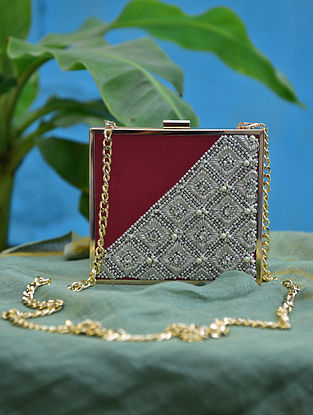 Maroon Silver Hand Embroidered Silk Clutch