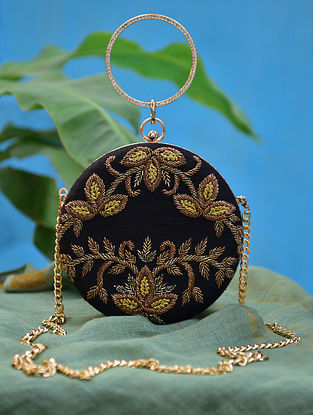 Black Gold Hand Embroidered Silk Clutch