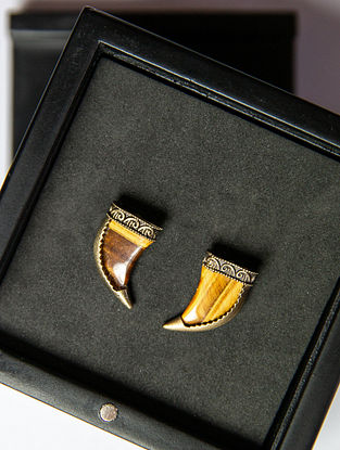 Tiger Eye Gold Tone Handcrafted Collar Tips
