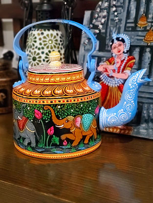 Blue Multicolored Handpainted Metal Teapot