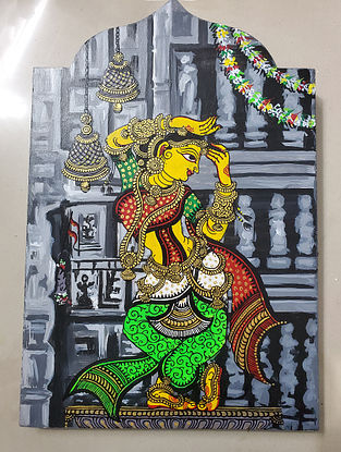 Multicolored Temple Series Grey Dancer Wooden Wall Art