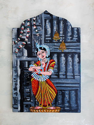 Multicolored Odissi Nritya Wooden Wall Accent