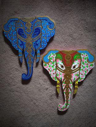 Multicolored Metal Elephant Heads (Set of 2)