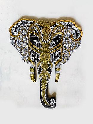 Grey Golden Wooden Elephant Head