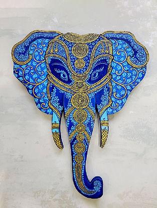 Blue Golden Wooden Elephant Head