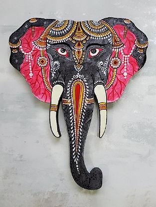 Black Multicolored Wooden Elephant Head