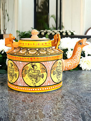 Yellow Multicolored Handpainted Metal Teapot