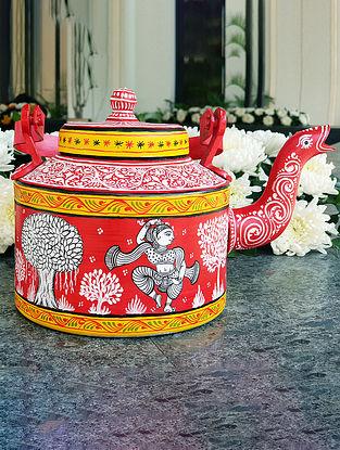 Red Multicolored Handpainted Metal Teapot