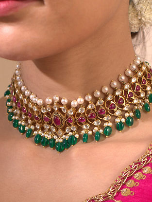 Maroon Green Gold Plated Silver Necklace