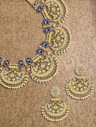 Gold Plated Silver Polki Necklace With Earrings