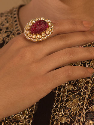 Maroon Gold Plated Silver Polki Ring