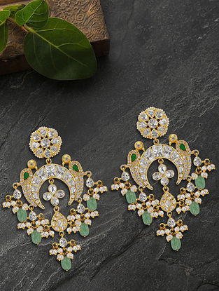 Green Gold Plated Silver Pearl Drop Earrings