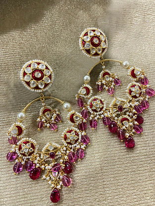 Maroon Gold Plated Silver Enameled Earrings