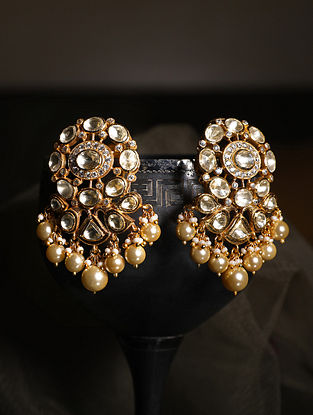 Gold Plated Silver Polki Earrings With Fresh Water Pearls