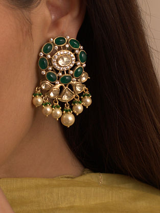 Green Gold Plated Silver Earrings With Fresh Water Pearls