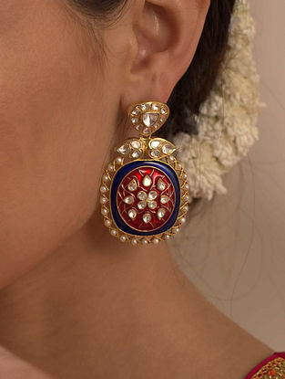 Red Blue Gold Plated Silver Polki Earrings