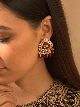 Gold Plated Silver Polki Earrings With Ruby