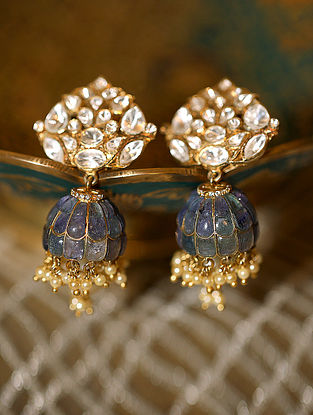 Gold Plated Silver Polki Earrings With Blue Sapphire