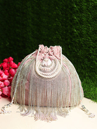 Pink Hand Embroidered Shimmer Potli