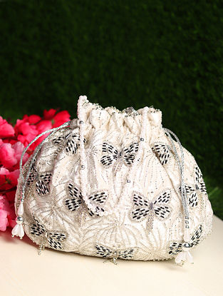 White Hand Embroidered Shimmer Potli