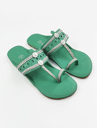 Mint Green Handcrafted Leather Kolhapuri Flats