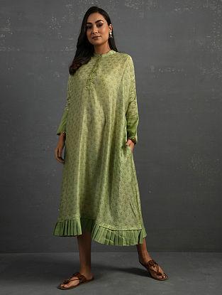 Green Block Printed Chanderi Kurta with Gota Details