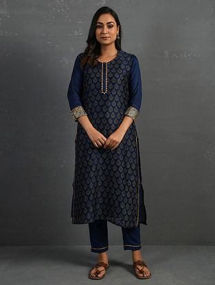 Indigo Block Printed Gota Trimmed Chanderi Kurta with Cotton Slip and Pants (Set of 3)