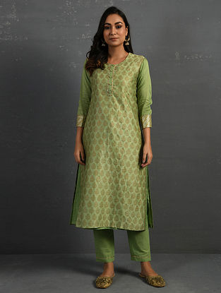 Green Block Printed Gota Trimmed Chanderi Kurta with Cotton Slip and Pants (Set of 3)
