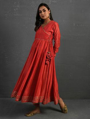 Pink Block Printed Gota Trimmed Chanderi Kalidar Kurta with Cotton Pants (Set of 2)