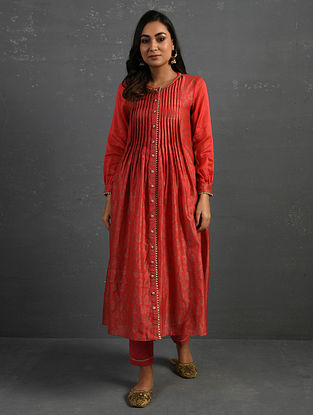 Pink Block Printed Gota Trimmed Chanderi Kurta with Cotton Slip and Pants (Set of 3)