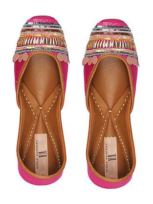 Fuschia Pink Handcrafted Genuine Leather Juttis