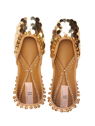 Gold Handcrafted Genuine Leather Juttis