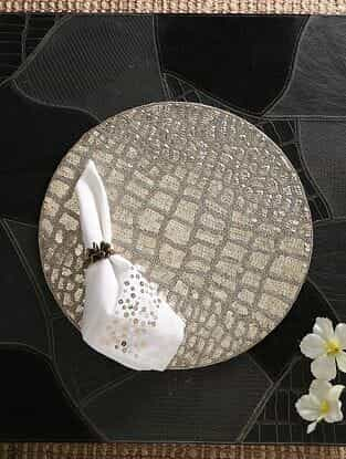 Silver Hand Beaded Placemat (Dia - 15in)