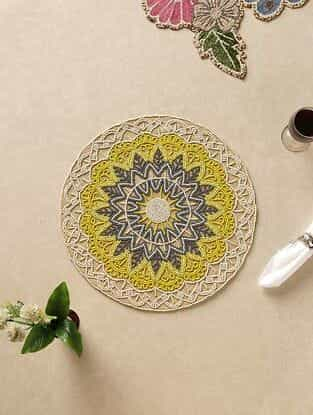 Yellow Hand Beaded Placemat (Dia - 15in)