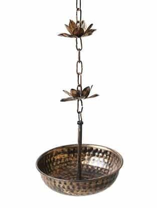 Matt Gold Iron Decorative Hanging With Lotus Chain (L - 8in, W - 8in, H - 56in)