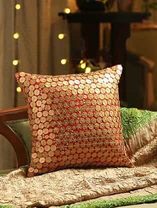 Red Hand Beaded Patra Cushion Cover (L - 14in, W - 14in)