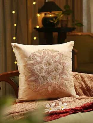 Beige Embroided Cushion Cover (L - 18in, W - 18in)