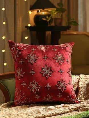 Burgundy Hand Beaded And Embroided Cushion Cover (L - 18in, W - 18in)