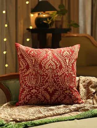 Burgundy Hand Beaded And Zari Embroided Cushion Cover (L - 18in, W - 18in)