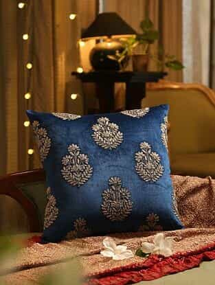 Blue Hand Beaded And Zari Embroided Cushion Cover (L - 18in, W - 18in)