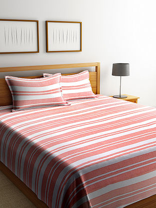 Red Cotton Double Bed Cover with Pillow Covers (Set of 3)